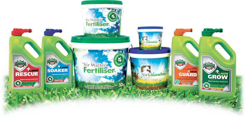 Lawn Lovers and Sir Walter Products - Lawn Rescue, Lawn Soaker, Sir Walter Premium Lawn Fertiliser, Sir Launcher, Grub Guard and Lawn Grow.